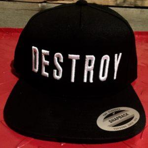 033c55a86be01 DESTROY 5-Panel Snap-Back Hat  White on Black